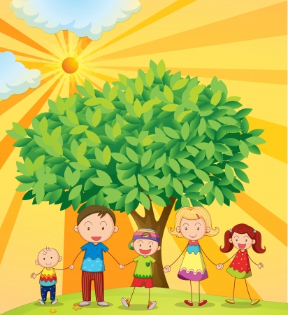 illustration of family holding hands under the tree Stock Vector - 14347230
