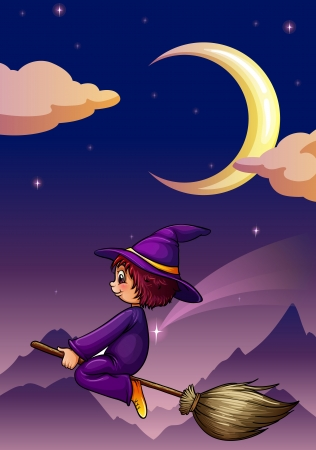 illustration of a witch on a broom Stock Vector - 14347171