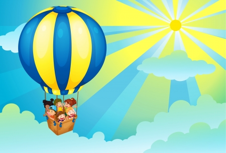 illustration of kids in a hot air balloon Stock Vector - 14347253