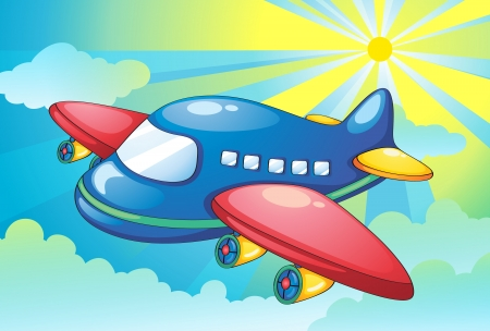illustration of aeroplane and light rays in the sky Vector
