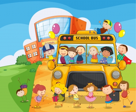 illustration of a school bus and kids infront of school Vector