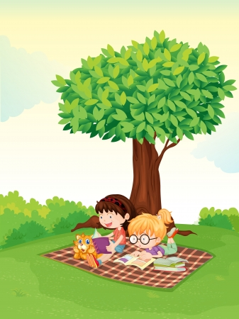 illustration of a boy and girl studying under tree Vector