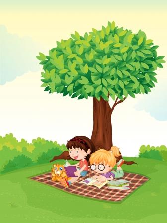 mujer leyendo libro: ilustración de un niño y una niña estudiando bajo el árbol