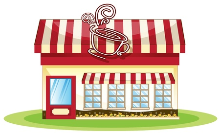 movable: illustration of a tent coffee shop in white background