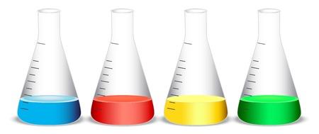 quimica verde: ilustraci�n de matraces c�nicos sobre un fondo blanco
