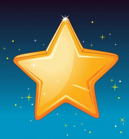 estrella caricatura: Ilustración de una estrella en el cielo de la noche