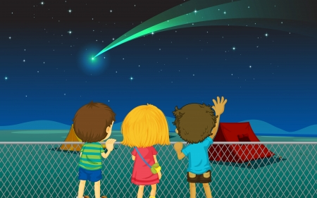 seeing: illustration of kids and comet in the night sky