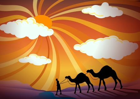 illustration of man and camel in desert Vector
