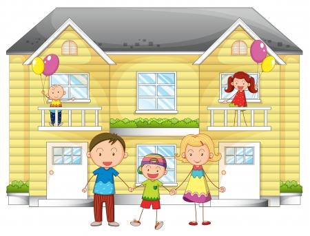 Ilustración de familia enfrente de la casa Ilustración de vector