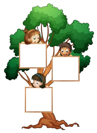 female child: illustration of kids with whiteboard on the tree