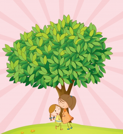 illustration of kids playing under tree in a nature Vector