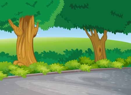 illustration of tree beside road in a beautiful nature Vector