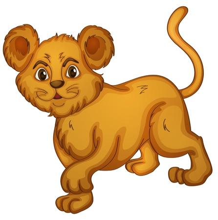 panthera: illustrazione di un cucciolo su uno sfondo bianco