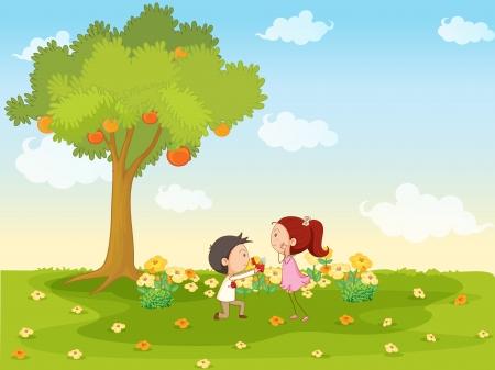 niño y niña: ilustración de los niños jugando alrededor del árbol en la naturaleza
