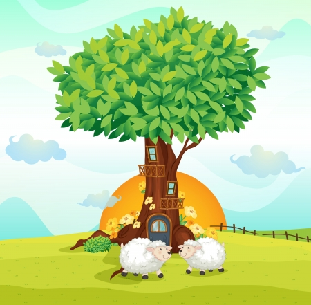 solar house: illustration of sheeps under a tree house