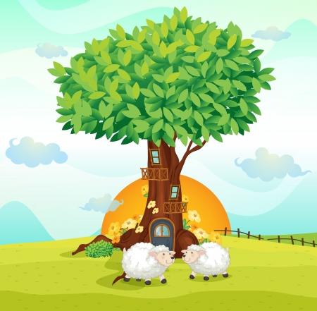 casale: illustrazione di pecore sotto una casa sull'albero