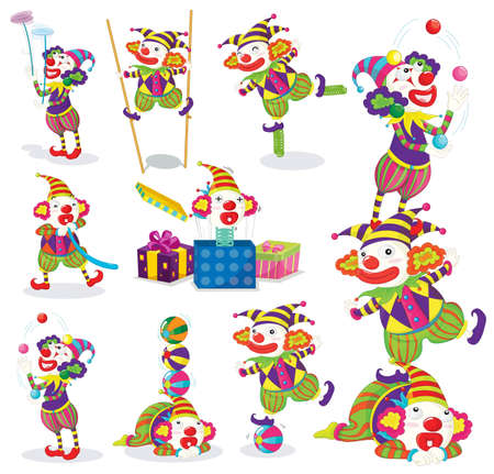 illustration of various activites of joker on a white Vector