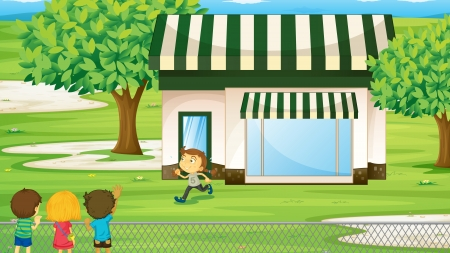 illustration of a tent house and kids on the green grass Vector