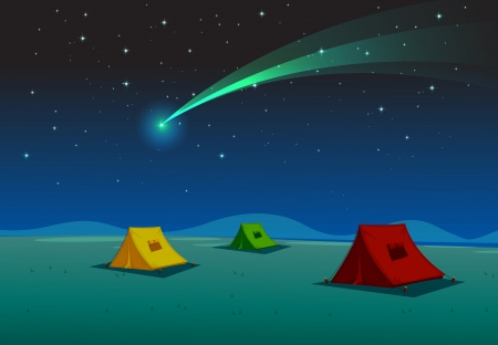 coma: illustration of a tent house and comet in night sky Illustration