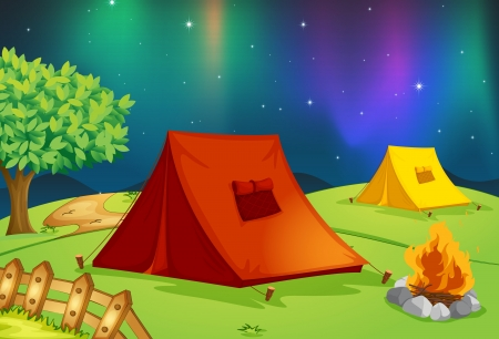 stay beautiful: illustration of a tent house and stars in night sky
