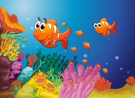 large group of animals: ejemplo de grupo de peces en un agua azul
