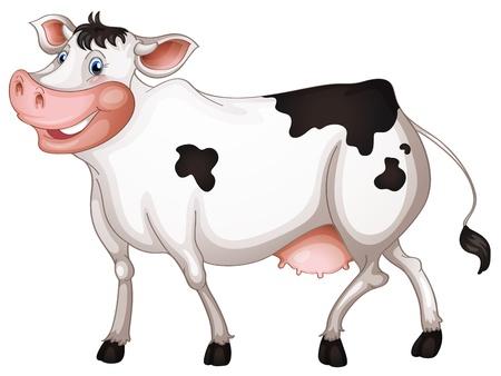 milk cow: ilustraci�n de una vaca en un fondo blanco