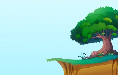 cliff edge: illustration of a green landscape on blue background