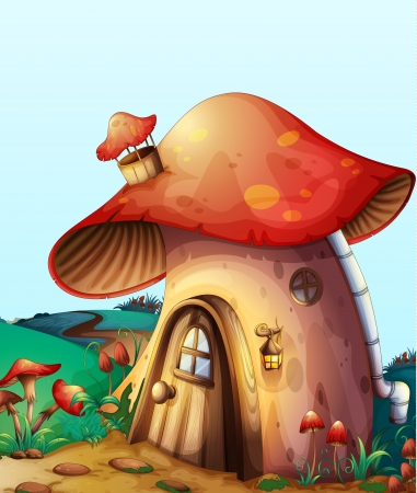 fairytale background: illustration of red mushroom house on a blue background