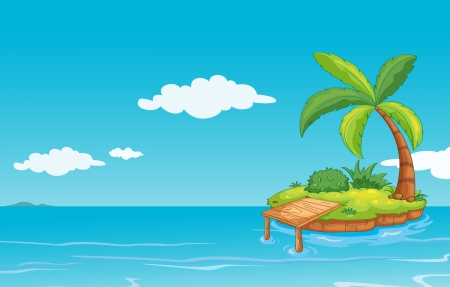 illustration of a green landscape on blue background Stock Vector - 14411791