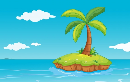 illustration of a palm tree on a island Vector