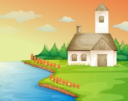 buildings on water: ilustraci�n de una casa en la orilla del r�o