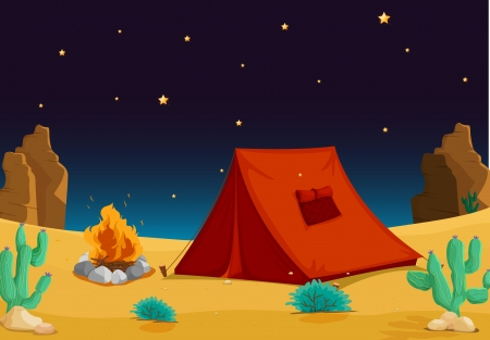 noone: illustration of a tent house and stars in night sky