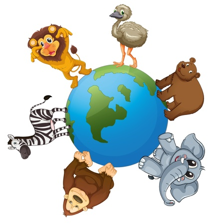 illustrtion of various animals on earth on white background Stock Vector - 14411879