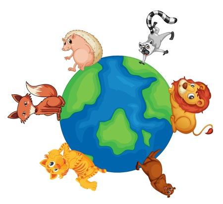 whiskar: illustrtion of various animals on earth on white background