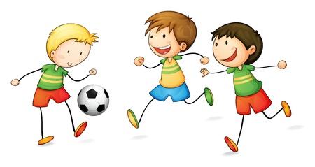 흰색 배경에 축구를하는 소년의 그림