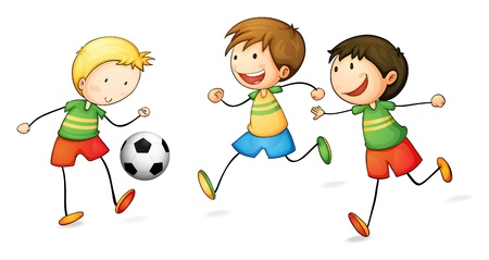 illustration of boys playing football on a white background Vector