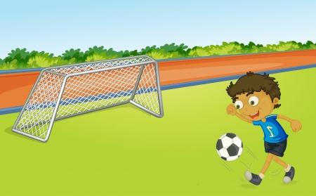 jugando futbol: Ilustraci�n del f�tbol ni�o jugando en un campo de juego