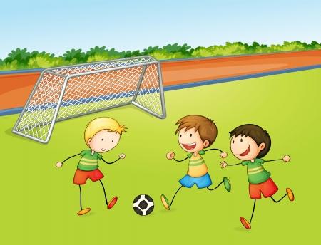 futbol soccer dibujos: ilustración de los niños jugando al fútbol en un campo de juego Vectores