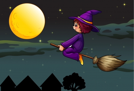 illustration of a witch on a broom Vector