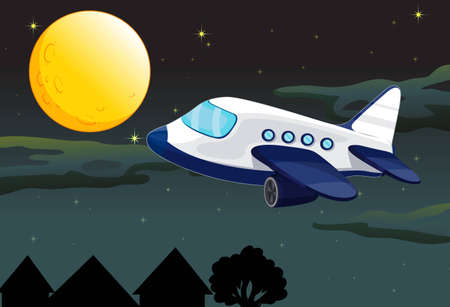 fly cartoon: illustration of a moon and aeroplane in dark night sky Illustration