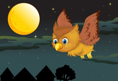 illustration of flying owl and full moon in a dark night Vector