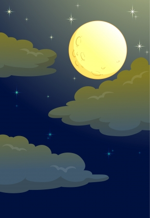 illustration of full moon in a dark night Vector