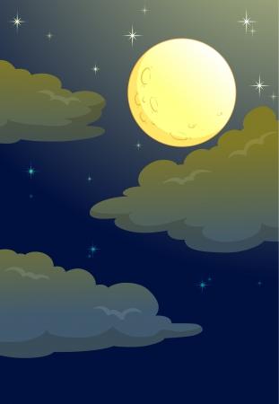 twinkling: illustration of full moon in a dark night Illustration