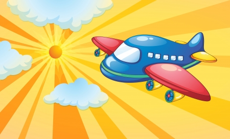 cockpit: illustration of aeroplane and light rays in the sky
