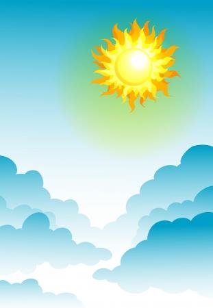 illustration of sun in the blue sky Stock Vector - 14411805