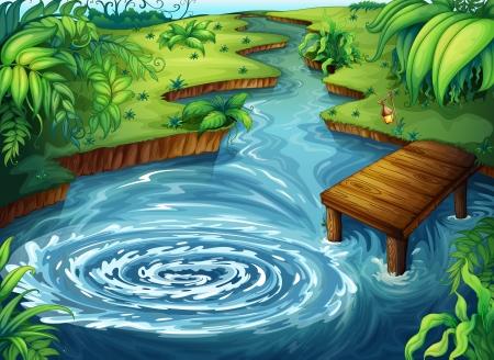 bach: Illustration einer gr�nen Landschaft auf blauem Hintergrund Illustration