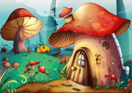 paddenstoel: illustratie van rode paddestoel huis op een blauwe achtergrond Stock Illustratie