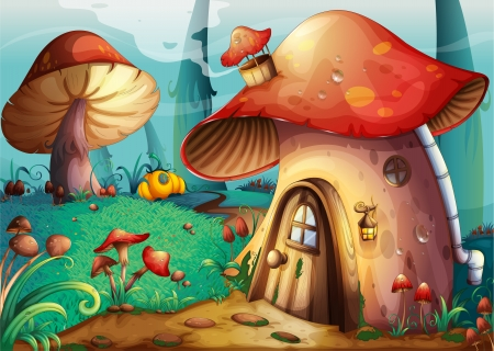story: illustration of red mushroom house on a blue background