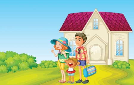 family outing: illustration of a family in front of house with bags