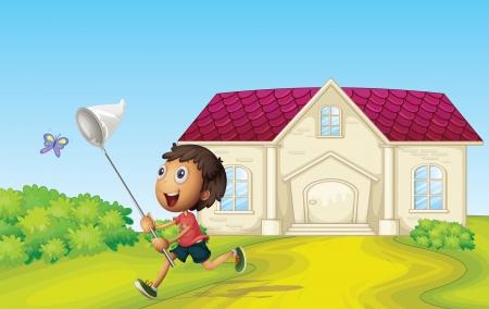 butterfly net: illustrtion of a boy catching butterflies infront of house